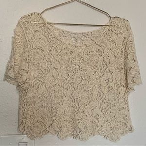 Women's Cream Lace Floral Crop Top